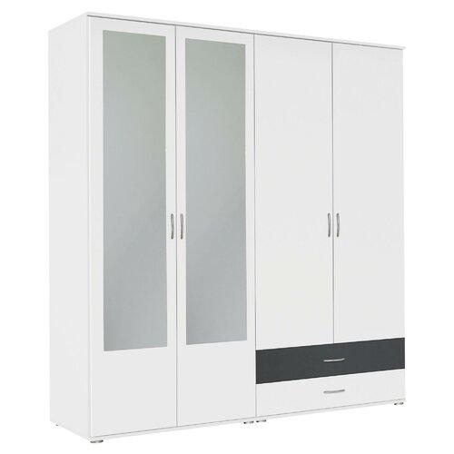 Kleiderschrank Noosa Rauch Farbe: Alpinweiß / Grau-metallic | Schlafzimmer > Kleiderschränke > Drehtürenschränke | Rauch