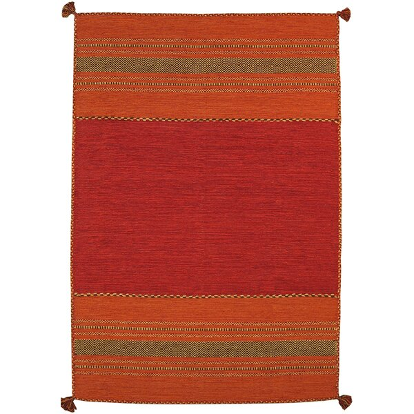 Kilim Hand-Woven Red Area Rug by Pasargad