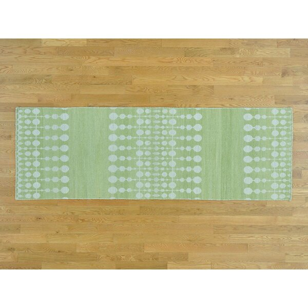 One-of-a-Kind Bordelon Reversible Handmade Kilim Green Wool Area Rug by Isabelline