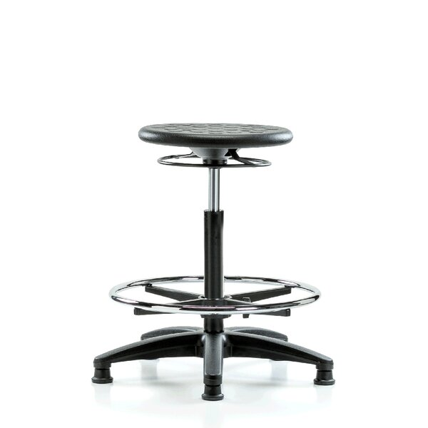 Height Adjustable Industrial Stool with Foot Ring by Perch Chairs & Stools