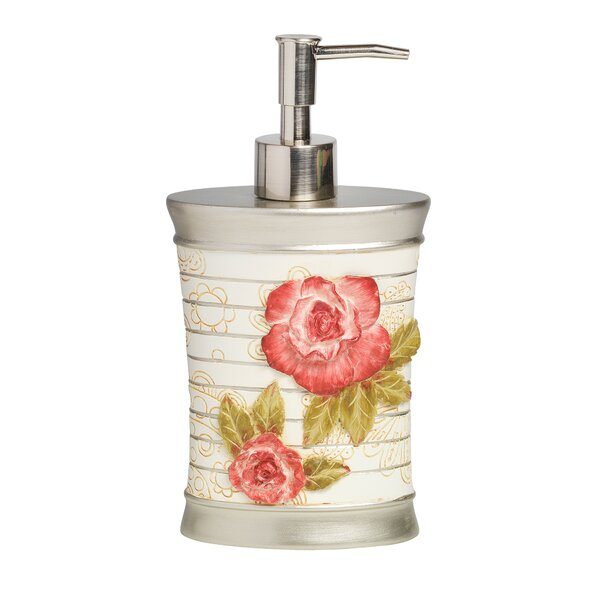 Pink Floral Bath Accessory Lotion/Soap Dispenser by Sweet Home Collection