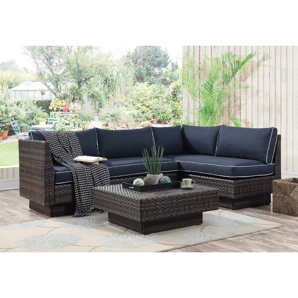 Mulford Outdoor 3 Piece Rattan Seating Group with Cushions by Bloomsbury Market