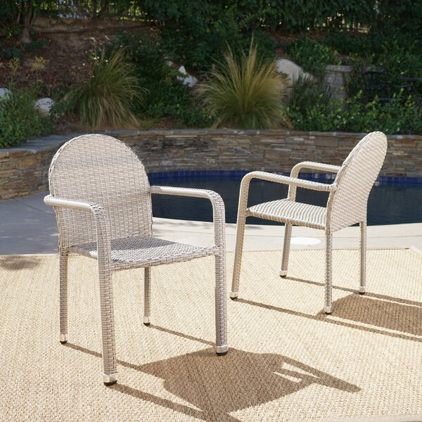 Wiesner Stacking Patio Dining Chair (Set of 2) by Wrought Studio