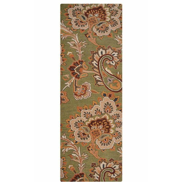 Creager Hand-Tufted Wool Green/Beige Area Rug by Winston Porter