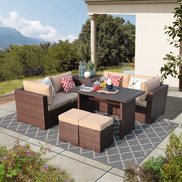 Alishaba 8 Piece Rattan Sectional Seating Group With Cushions by Latitude Run