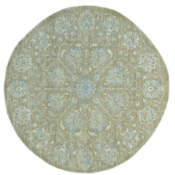 One-of-a-Kind Kells-Connor Hussainabad Overdyed Worn Hand-Knotted Taupe/Sky Blue Area Rug by Canora Grey