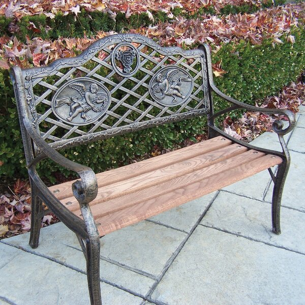 Angel Kiddy Wood and Cast Iron Park Bench by Oakland Living