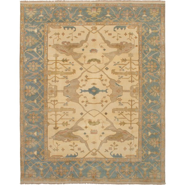 One-of-a-Kind Eile Hand-Knotted Wool Beige/Blue Area Rug by Isabelline