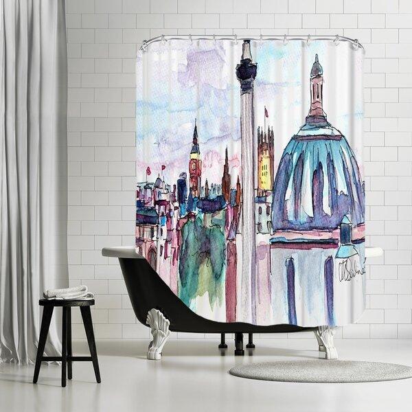 Markus Bleichner Gillispie London Skyline with Big Ben and Nelson Shower Curtain by Brayden Studio