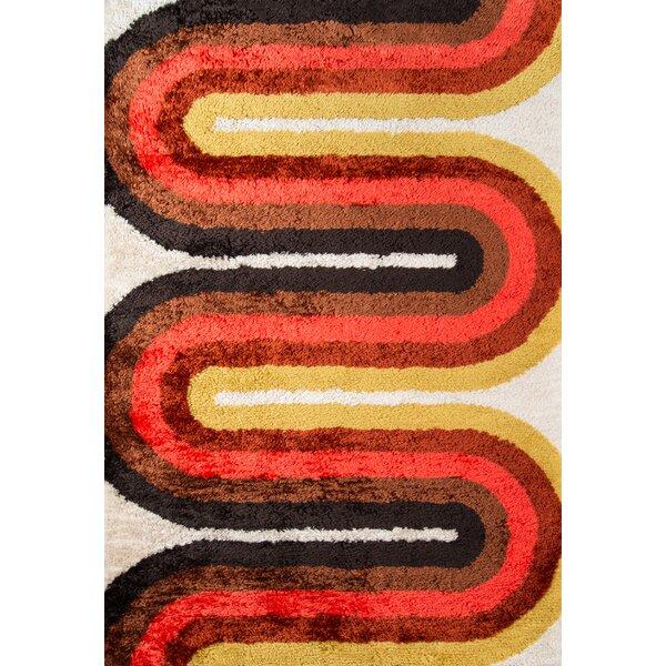 Retro Wave Hand-Tufted Red Area Rug by Novogratz By Momeni