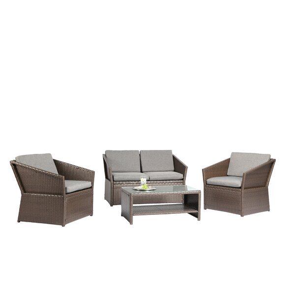 Bridgette Outdoor Complete 4 Piece Rattan Sofa Seating Group with Cushions Set by Andover Mills