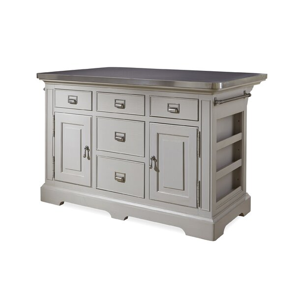 Bailes Kitchen Island with Stainless Steel Counter Top by Canora Grey