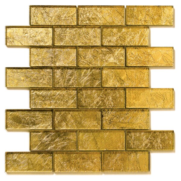 Folia Glass Subway Tile in Golden Willow by Solistone