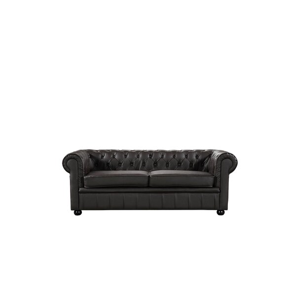 Russell Leather Chesterfield Sofa by House of Hampton