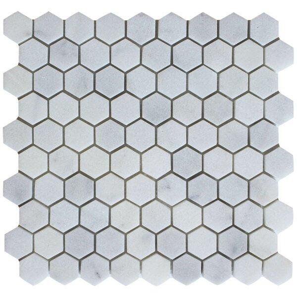 1.25 x 1.25 Mosaic Tile in Bianco Venantino by Ephesus Stones