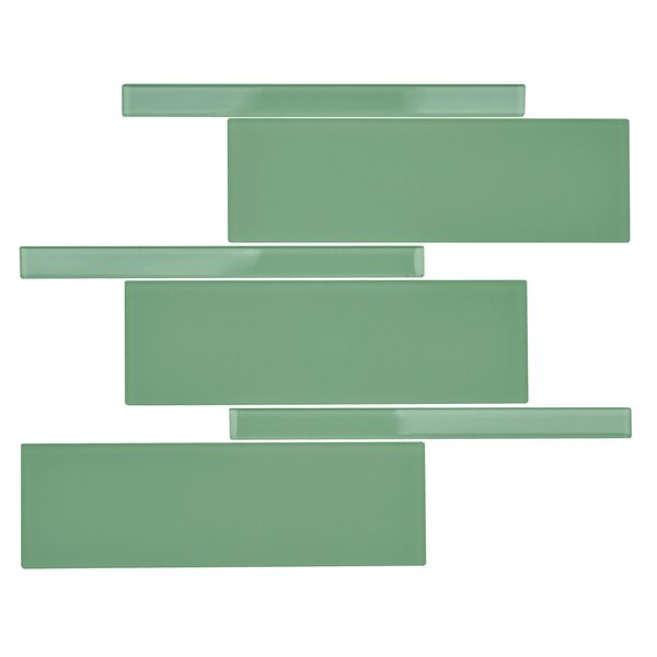 Avenue Glass Random Sized Glass Mosaic Tile in Tortuga Green by Kellani