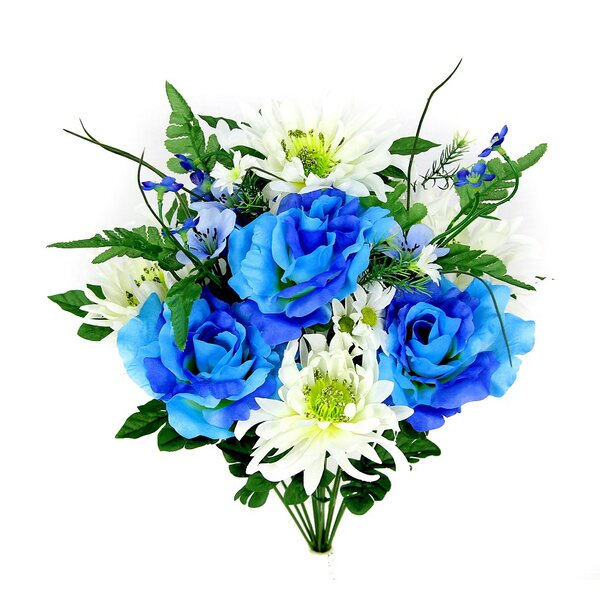 14 Stems Artificial Rose, Mum Flower Mixed Bush with Greenery Foliage by Charlton Home