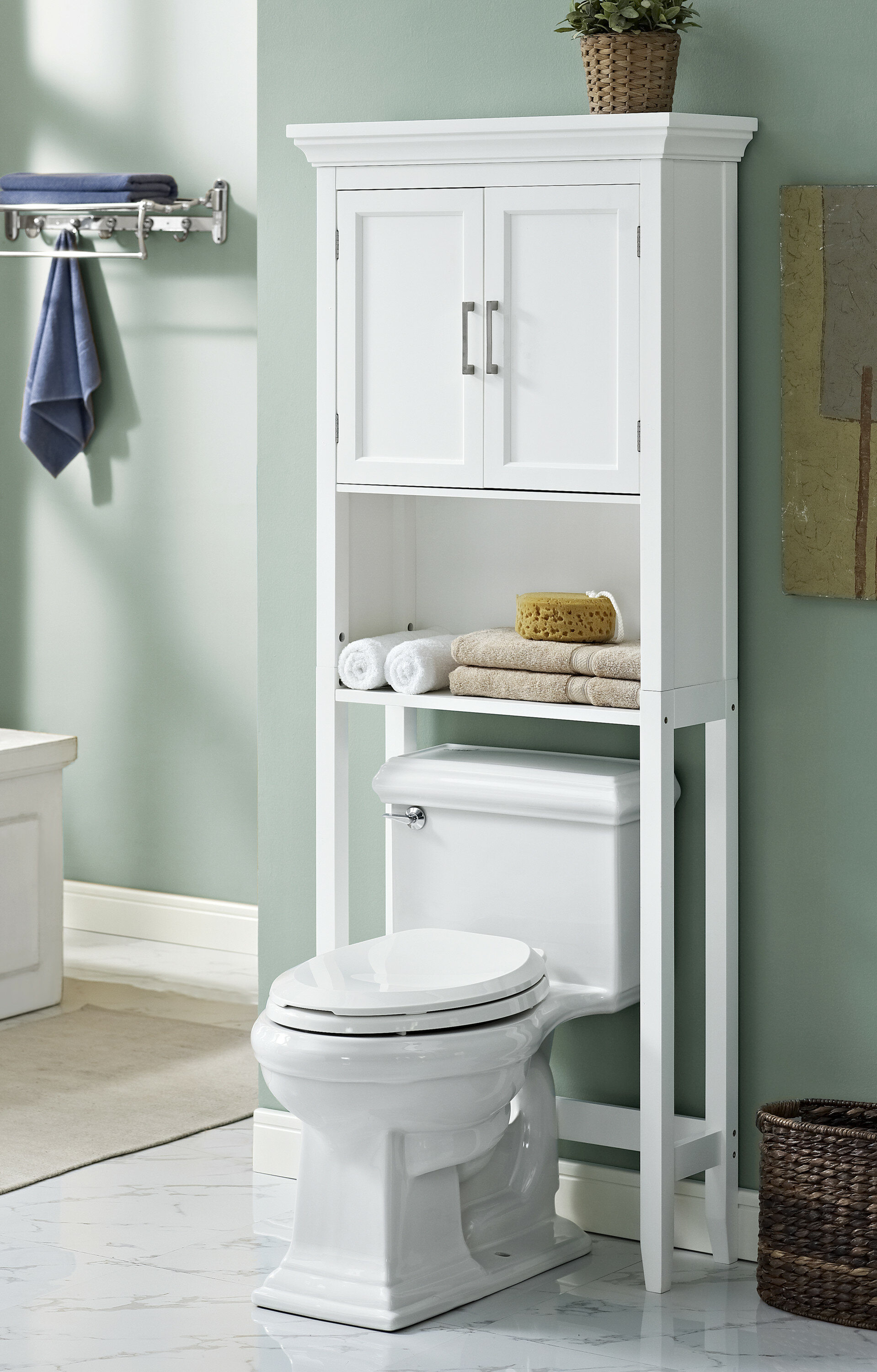 simpli home avington 27 w x 67 h over the toilet storage reviews wayfair. Black Bedroom Furniture Sets. Home Design Ideas