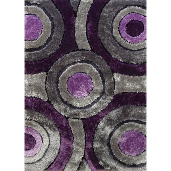 Orrstown Shaggy Hand-Tufted Gray/Purple Area Rug by Orren Ellis