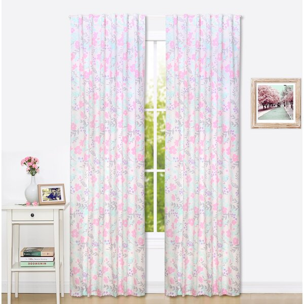 Floral Nature/Floral Blackout Rod Pocket Curtain Panels (Set of 2) by The Peanut Shell