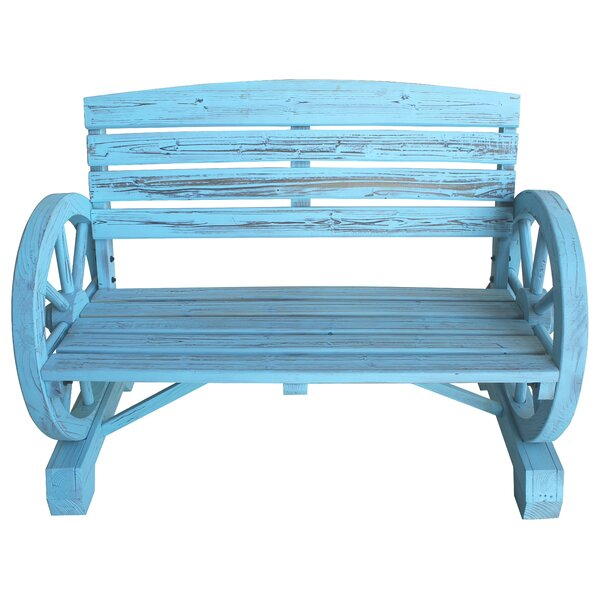 Blaise Wagon Wheel Wooden Garden Bench by August Grove
