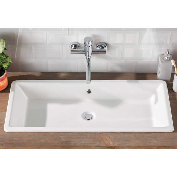 Gaia Ceramic Rectangular Vessel Bathroom Sink with Overflow by Scarabeo by Nameeks