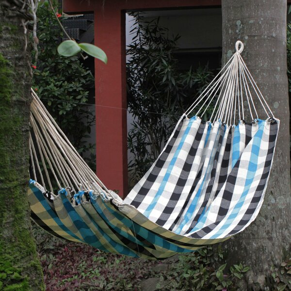 Checkerboard Pattern Cotton Tree Hammock by Novica