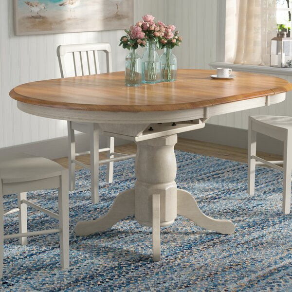Florentia Extendable Solid Wood Dining Table by Beachcrest Home