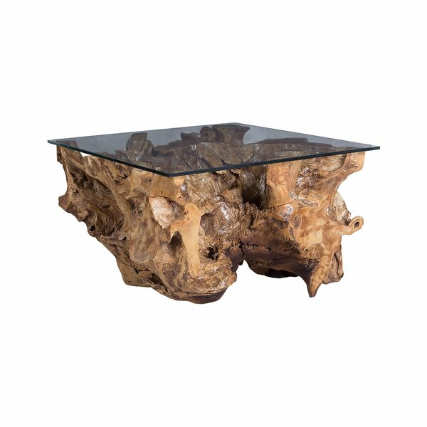 Ditto Glass Top Block End Table