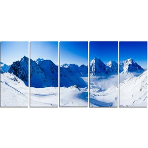 Blue Winter Mountains 5 Piece Wall Art on Wrapped Canvas Set by Design Art
