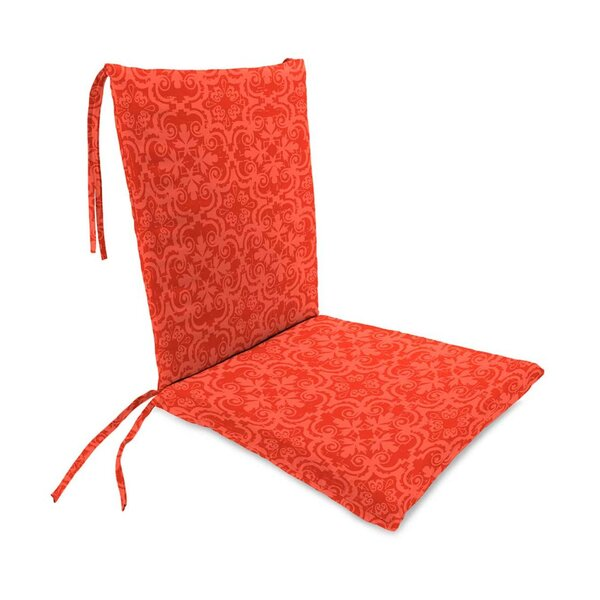 Persimmon Block Print Polyester Classic Indoor/Outdoor Rocking Chair Cushion