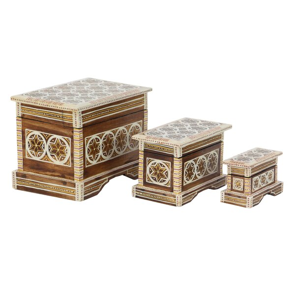 Cedar Grove Traditional Star Batik Design 3 Piece Decorative Box Set with Lid by Bloomsbury Market