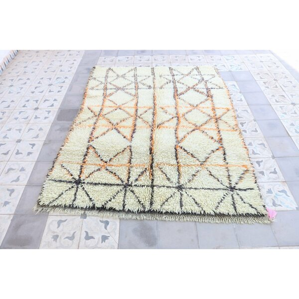 Beni Ourain Moroccan Hand Knotted Wool Cream/Yellow Area Rug by Indigo&Lavender
