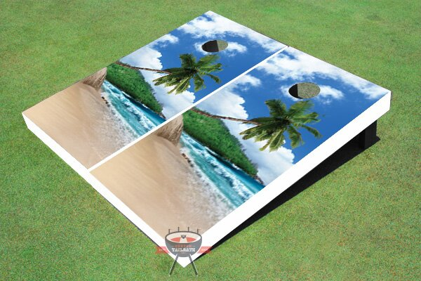 Tropical Beach Cornhole Board (Set of 2) by All American Tailgate