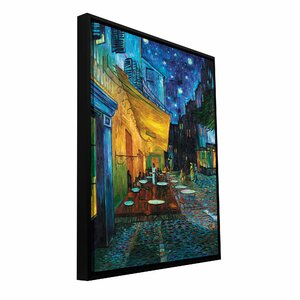 'Café Terrace at Night' by Vincent Van Gogh Framed Painting Print on Wrapped Canvas by ArtWall