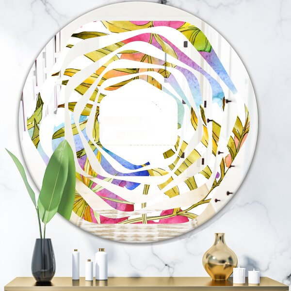 Whirl Tropical Foliage IV Coastal Frameless Wall Mirror