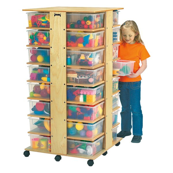 Tower Double Sided 32 Compartment Cubby with Casters by Jonti-Craft