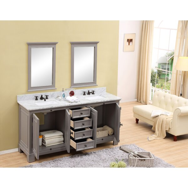Hampson 60 Double Bathroom Vanity Set with Mirror by Canora Grey