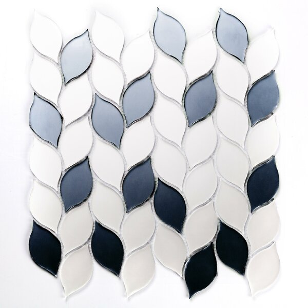 Musico Leaf Waterjet Glass Mosaic Tile in White by Abolos