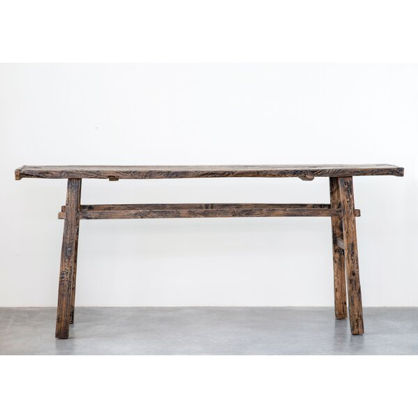 Review Inglestone Common Reclaimed Elm Wood Rectangle Console Table