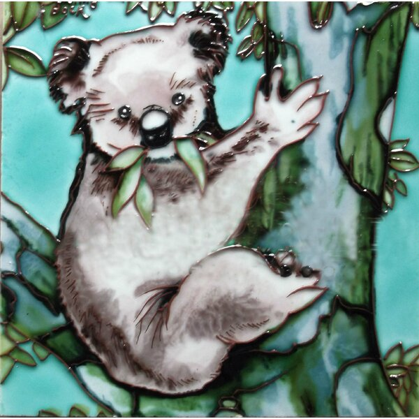 Kola Bear on A Tree Tile Wall Decor by Continental Art Center