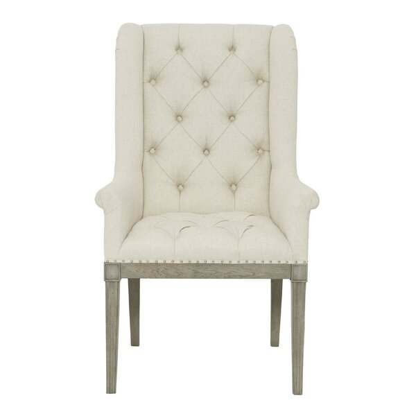 Marquesa Tufted Upholstered Wingback Arm Chair in Beige by Bernhardt Bernhardt