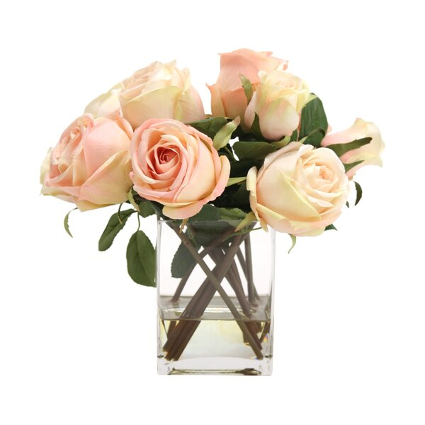 Waterlook Silk Roses and Rose Buds in Tall Glass Square by Distinctive Designs