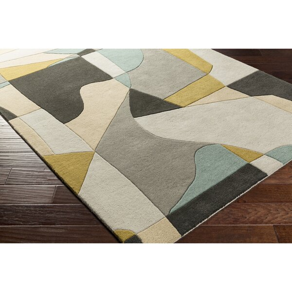 Dewald Hand-Tufted Green/Blue Area Rug by Ebern Designs