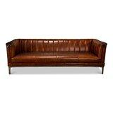 Genuine Leather 88 Square Arm Sofa by Sarreid Ltd