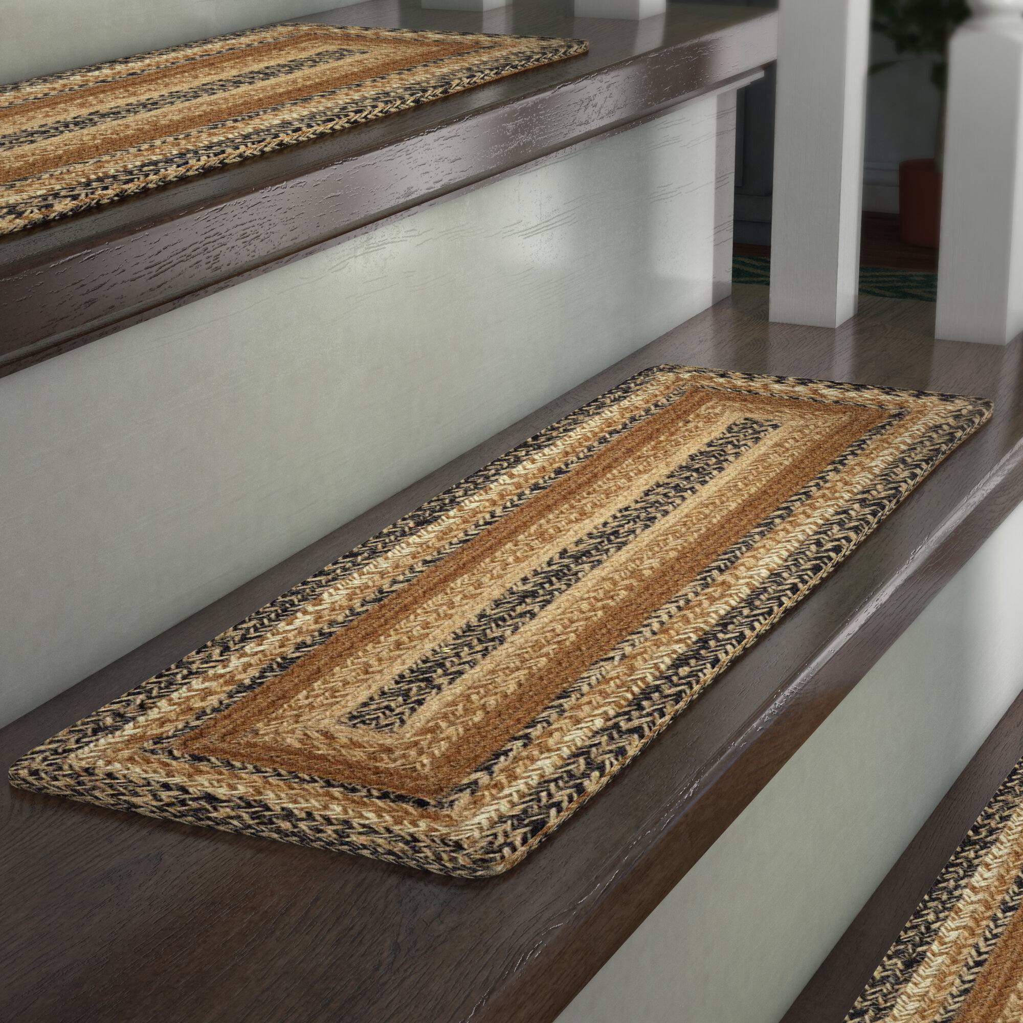 August Grove Millicent Caramel Brown Stair Tread U0026 Reviews | Wayfair