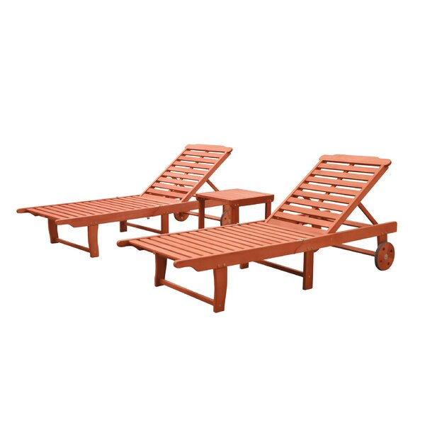 Casto Reclining Chaise Lounge Set with Table by Longshore Tides