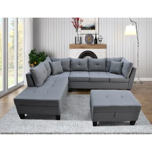 Sectional Sofa Set For Living Room With Right Hand Chaise Lounge And Storage Ottoman (Grey) by Latitude Run®