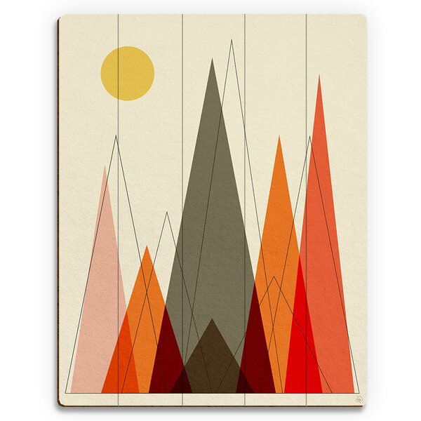 Retro Mountains Graphic Art on Plaque by Click Wall Art