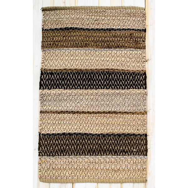 Hudson Herringbone Mocha Striped Area Rug by CLM